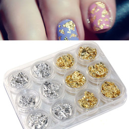 Wholesale Nail Art Foil Flakes - 12 PCS Nail Art Gold Silver Paillette Flake Chip Foil DIY Acrylic UV Gel Pager Free shipping & wholesale