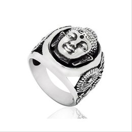 Wholesale Asian Statues - Vintage Ethnic Buddhist Statue Portrait Men Ring Stainless Steel Biker Jewelry Silver Tone Size 7-13 R321