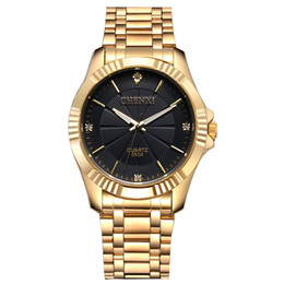 Wholesale Mens 18k Watch - New Fashion Mens Watches Top Luxury Brand Full Stainless Steel 18K Gold Plated Watches Men Casual Business Quartz Watch