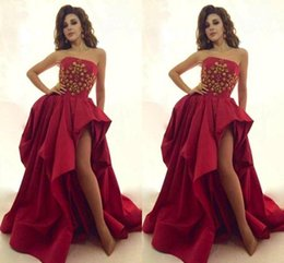 Wholesale Custom Celebrity Body Dresses - High Split Side Red Prom Dresses Strapless A-Line Backless With Beads Body Sweep Train Draped Skirt Taffeta Evening Celebrity Gown zahy735
