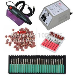bandas de lijado de uñas Rebajas Al por mayor-eléctrico profesional Nail Art Drill Machine Manicure Pedicure Pen Tool Set Kit + 30pcs broca de uñas + 50pcs bandas de lijado