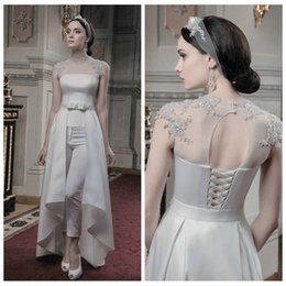Wholesale Wedding Dress Trousers - High Neck Lace Appliques Sheer Shoulder Wedding Dresses With Trousers Detachable Beading Sequined Bridal Gowns Lace Up Back 2016 Custom