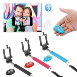 Telecomando a buon mercato bluetooth online-Prezzo basso Z07-1 Selfie monopiede + Bluetooth Remote Shutter + Phone Clip per iPhone IOS Sumsang Android con pacchetto di vendita al dettaglio