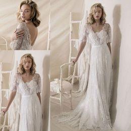 Wholesale Satin Low Back Wedding Dress - Vintage 1950s' Lace Wedding Dresses 2018 Lihi Hod Lace Wrap Elegant Sweep Train Bohemian Country Low Back Wedding Gowns