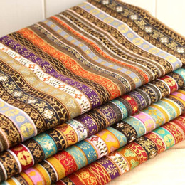 "Wholesale Pre Fabric - 4 Assorted Pre-Cut Cotton Linen Quilt Fabric Fat Quarters ""Ethnic Exotic Bronzed Stripes"" 50cmx70cm handmade material home deco"