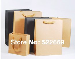 Wholesale Black Paper Shopping Bags - Wholesale-Newest Free Shipping Fashion Gift Paper Bag Shopping Handing Bag Kraft Bag Cotton Handle Tie Mix 7Size 2 Color Top Quality