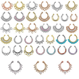 Wholesale clip studs - 30pcs Mixed Fake Septum Clicker Nose Ring Non Piercing Hanger Clip nose piercing fake septum On CZ Body Jewelry For Women Girl