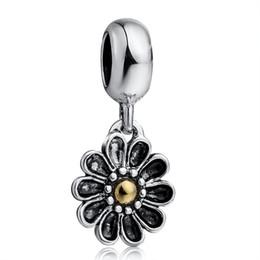 Flor de metal cuentas de esmalte online-¡Nuevo! 925 esmalte de plata esterlina KP colgante de flor 14 perlas de encanto europeo como serpiente de plata pulsera de cadena joyería de moda DIY