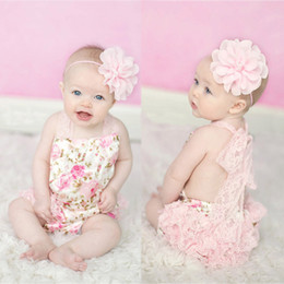 Wholesale Hanging Girls Neck - Summer babies rompers newborn baby clothes Hanging neck baby girl's lace romper kids infant toddler one-piece jumpers