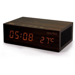 Wholesale Wireless Computer Display - Wireless charging Wooden Speakers NFC Bluetooth 4.0 Alarm Clock Stereo Speaker LED Clock Wall Clock Temperature Display with retai