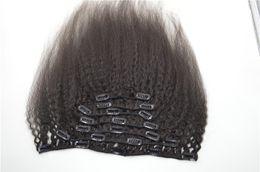 Extensión de la pinza de pelo superior online-Clip en extensiones de cabello superior natural humano 7pcs Clip rizado brasileño recto en el cabello 120 g G-EASY Cabello negro natural