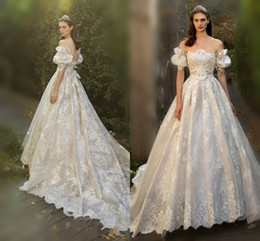 Wholesale Wedding Bridals - Fairy Lace Wedding Dresses 2016 Off Shoulder Juliet Short Sleeve a Line Bridals Gowns Sexy Backless Sweep Train Wedding Dresses With Bow