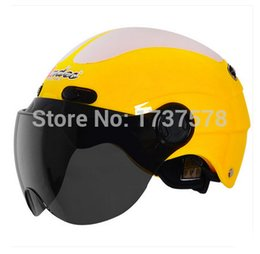 Wholesale Helmets Types For Motorcycles - Wholesale-Fashion Andes-X-368-D ABS Portable-type Scooter Safety Helm Motorcycle Bright Yellow # ivory Helmet & UV Lens Adult For Summer