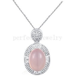 Wholesale Natural Pink Rose Quartz Gemstone - Rose quartz necklace pendant 925 sterling silver pendant Natural real rose quartz pink crystal Free shipping Perfect Jewelry #DH-15070517
