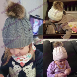 Wholesale Children Tie Dye - Winter Mom Women Baby Kids Girl Boy Newborn Crochet Knitted Hats Skull Caps Wool Fur Ball Pompom Beanies Hat