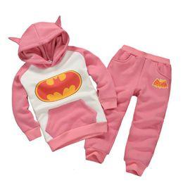 Wholesale Tracksuit Fleece Girls - Pink Batman Girls Clothes Sets Winter Fleece Hooded Jacket Coats Trousers Suit Children Tracksuit Outfits Hot Sale