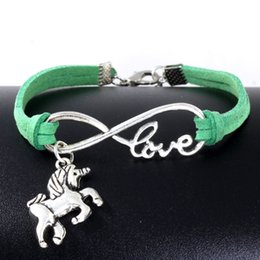 Wholesale Wholesale Horse Beads Jewelry - 10pcs Vintage Silver Love Infinity Unicorn Horse Charm Bracelet Bangle For Women Mixed Color Velvet Rope Bracelet Jewelry Gift Accessories