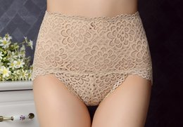 Wholesale Woman Flower Underwear - Woman Sexy Lace Bamboo Fiber High-Waisted Underwear Seamless Flower Hollow Out Underpants Sexy Lingerie Many Colors Available