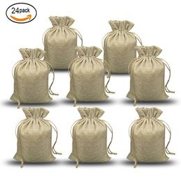 Wholesale party paper wrap - NATURAL BURLAP BAGS Candy Gift Bags Wedding Party Favor Pouch JUTE HESSIAN DRAWSTRING SACK SMALL WEDDING FAVOR GIFT
