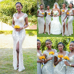Wholesale Woman Dress Short Front - Cheap Silver Sequins Long Bridesmaid Dresses 2016 Spring V Neck Women Cap Sleeves Split Evening Dresses Formal Party Gowns Prom Dresses