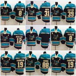 Wholesale Couture Hoodie - 19 Joe Thornton San Jose Sharks 8 Joe Pavelski 88 Brent Burns 39 Logan Couture 12 Patrick Marleau Men's Hoodie Sweater Hockey Jersey