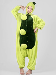 Wholesale Pea Suit - adult unisex fannel animal onesie pajamas costume green pea pyjamas suit for sale