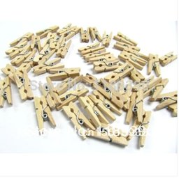 Wholesale Wood Peg Crafts - New Natural Art Crafts Gifts DIY Mini Wooden Clips Pegs Paper Photo Decoration Tool 3cm 500pcs lot Drop Shipping
