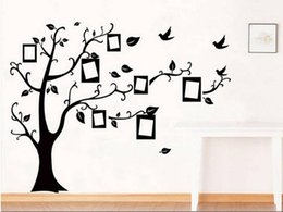 Wholesale Photo Adhesive Decal - Sale Black 3D DIY Photo Frame Tree Wall Sticker PVC Wall Decals Home Decorations Family Wall Stickers Mural Art Home Decor butterfly dec
