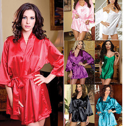 Wholesale Robe Set Red - w1031 4pcs Set Sexy Women Satin Lace Lingerie Sleepwear Night Robe Nightdress G-String