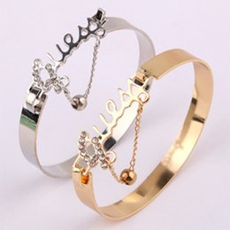 Wholesale Womens Stainless Steel Bangle - Wholesale-Fashion Womens Rhinestone Bracelets & Bangles Silver Gold Stainless Steel English Letter Pendants Bangles Fine Jewerly BL-0364