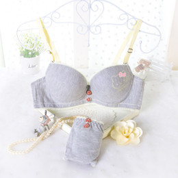 Wholesale Cute Red Bra - 2015 new comfortable women bra set cute hello kitty 32 34 36 A B cup young girl sexy cotton bamboo underwear suit drop shipping