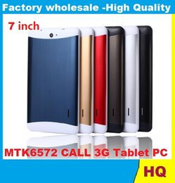 Hd multi-touch tablet online-7 pollici 3G Phablet HD 1024x600 GSM / WCDMA MTK6572 Dual Core Dual SIM Dual Cameras GPS Android 4.4 Telefono cellulare Tablet