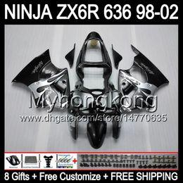 Wholesale Zx6r Body - 8Gifts+ Body For KAWASAKI NINJA Silver grey ZX6R 98-02 ZX636 ZX 636 MY34 ZX-6R ZX 6R Silvery 98 99 00 01 02 1998 1999 2000 2001 2002 Fairing