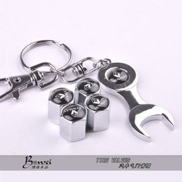 Wholesale Mini Car Wheel Keychain - Free shipping Car Wheel Tire Valve Caps with Mini Wrench & Keychain for Renault (4-Piece Pack)