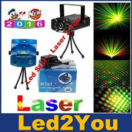 Wholesale Moving Mini Stage Projector - 150mW Mini Red-Green Voice-activated Moving Party Stage Laser Light Projector with tripod DJ party disco light Free Shipping