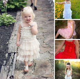Wholesale Pink Chiffon Dress Infant - baby girl infant toddler lace dress princess flower floral tutu dress zig zag strap cake jumper satin bowknot