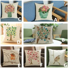 Wholesale Knitted Bottle Cover - Linen velvet creative hand painting bird flower bottle blue tree pillow case Sofa decorative home cushion cover 45*45cm #64