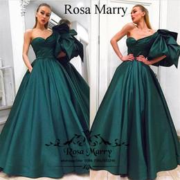 2019 um ombro vestidos de baile esmeralda Verde esmeralda Plus Size Árabe Vestidos de Noite com Bolsos 2020 vestido de Baile de Um Ombro Barato Africano Formal Vestidos de Festa À Noite Vestidos de Baile um ombro vestidos de baile esmeralda barato
