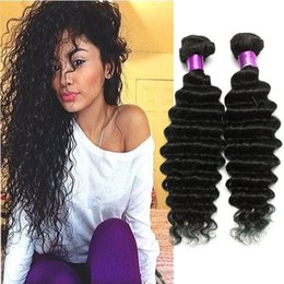 Wholesale Deep Wavy Weaving - Brazilian Virgin Hair Water Wave Brazilian Hair Deep Wave Weave Bundles Wet And Wavy Virgin Brazilian Curly 4Pcs Lot Human Hair Extensions
