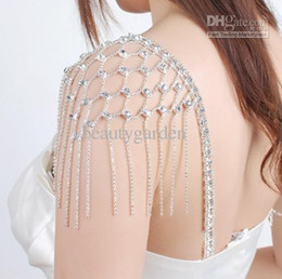 Wholesale Clear Body Jewelry - wedding bridal Jewelry Prom Party BRA Shoulder STRAPS Diamonte Detachable Crystal Tassel Dress Bra Strap jj002