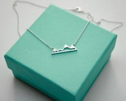 Wholesale Modern Landscapes - 10PCS- N015 Cute Snowy Mountain Top Range Necklaces Simple Modern Minimalist Necklace Nature Paris Landscape Necklace for Women