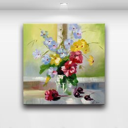 Wholesale Flower Vases Oil Painting - Floral In Vase Beautiful Flowers Modern Wall Oil Painting Printed On Canvas Painting For Bedroom Living Room Home Decoration
