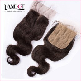 Wholesale Silk Top Lace Closures - Peruvian Body Wave Silk Base Closure Unprocessed Peruvian Virgin Human Hair Top Lace Closures Free Middle 3 Way Part 4x4 Size Natural Color