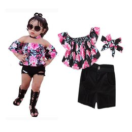 Wholesale Tops Shorts Headband - 2017 Girls Childrens Clothing Sets Floral Slash Neck Tops Shorts Headbands 3Pcs Set Fashion Girl Kids Autumn Boutique Clothes Outfits