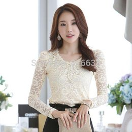 Wholesale Black Designer Blouses - Free Shipping Beige Black Red S-XL Designer Women's Tops New 2014 Autumn Fashion Elegant Crochet Long Sleeve Lace Blouses Shirts