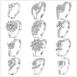 Wholesale Diamonds Swarovski Ring - 925 Sterling Silver Plated Diamond Rings Zirconia Charms Rhinestone Swarovski Crystal Rings Wedding Valentine Lover Gift Mixed Size 7 & 8