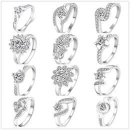 Wholesale Valentine Diamonds - 925 Sterling Silver Plated Diamond Rings Zirconia Charms Rhinestone Swarovski Crystal Rings Wedding Valentine Lover Gift Mixed Size 7 & 8