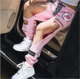 Wholesale Harem Style Pants Women - Harajuku style pink personalized embroidery badge BF big hole loose pants elastic waist casual trousers tide female hollow hight quality fre