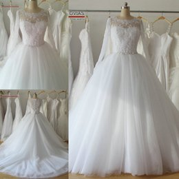 Wholesale Vintage Lace Demetrios Wedding Gown - Demetrios Ball Gown Wedding Dress Real Photos Jewel Neck Appliqued Lace Long Sleeves Wedding Dresses Crystal Belt Button Back Court Trains