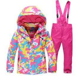 Wholesale Breathable Fishing Jacket - Wholesale- Ski Suit New Winter Boys and Girls Jackets+Pants Outdoor Ski Wear Student Children Down Jacket Camping Climbing Fishing